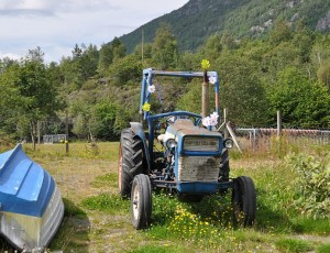 Geblümter Traktor