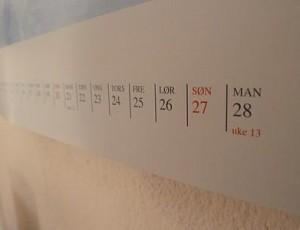 In Norwegen gehen die Uhren anders  Am 1. März beim Umblättern auf unserem norwegischen Kalender entdeckt: Der März hat hier nur 28 Tage.