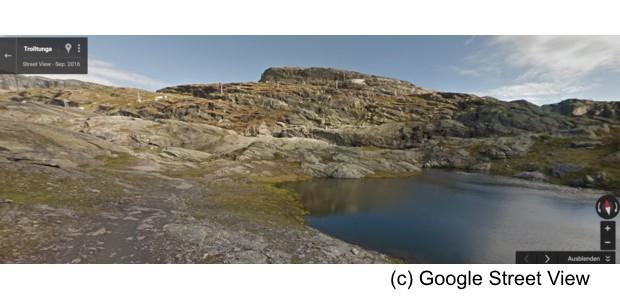 Auf dem Weg zur Trolltunga Copyright Google Street View