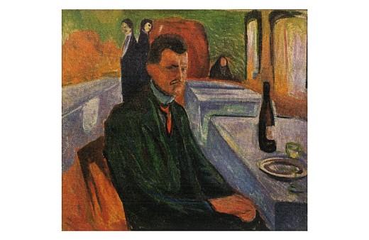 Edvard Munch: Selbstbildnis mit Weinflasche