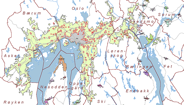 Oslo – Der urbane Raum, rot = urbanes Zentrum