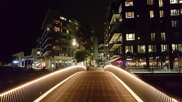 Brücke Licht Tjuvholmen Oslo Nacht Abend
