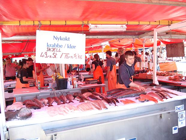 Fischmarkt in Bergen Fisch