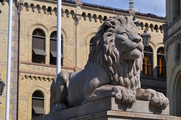 Norwegischer Löwe Storting Skulptur Politik