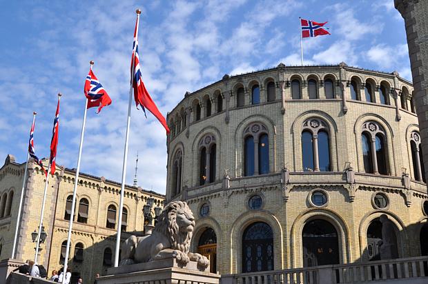 Storting Parlament Löwe Flagge Politik Wirtschaft