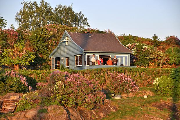 Haus Oslofjord Sonnenuntergang Abend Abendsonne Frühling
