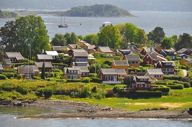 Oslo Nakholmen Häuser Hytte Freizeit Mai
