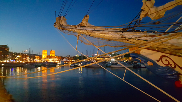 Hafen Segelschiff Oslo Rathaus Nacht Segelboot
