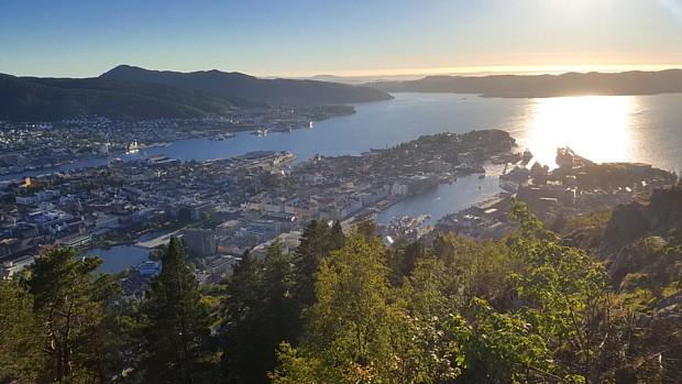 Bergen Fløyen Aussicht Sonne Sonnenuntergang
