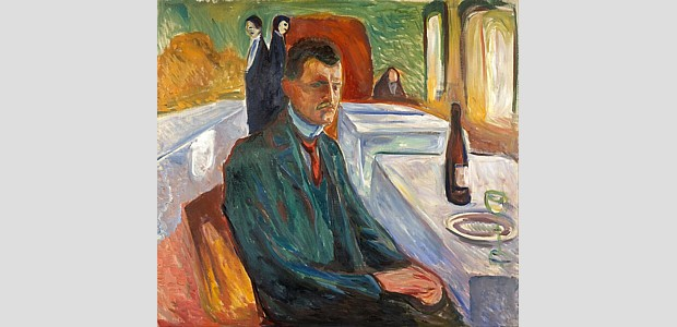 Edvard_Munch Selbstbildnis mit Weinflasche